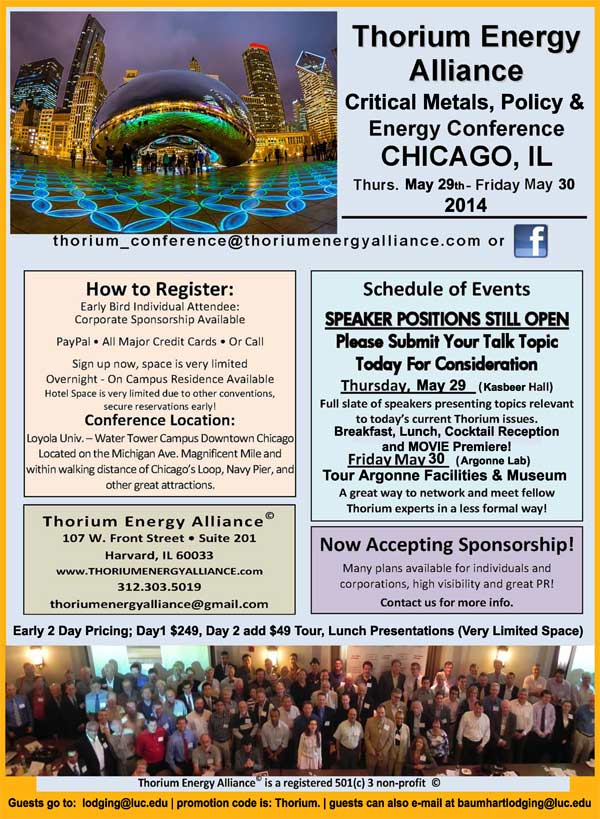 Thorium Energy Alliance Conference 2014